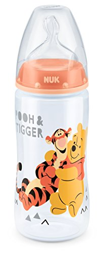 NUK 10216200 Disney Winnie First Choice Plus Flasche aus PP, kiefergerechter Silikon-Trinksauger, BPA frei, 6-18 Monate, M, lachs