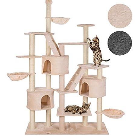 happypet® Kratzbaum für Katzen deckenhoch höhenverstellbar 240 – 260 cm hoch, CAT013, großer Kletterbaum Katzenbaum für mehrere Katzen geeignet, stabile Säulen mit Sisal ca. 8,5 cm Durchmesser inkl. Häuser Liegemulden Treppen FARBWAHL
