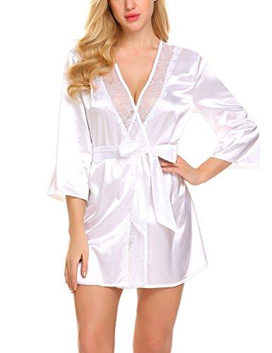 Meaneor_Fashion_Origin Damen Satin Schieres Kimono Robe Einfarbig Morgenmantel Sexy Nachtwäsche Spitze Reizwäsche V-Ausschnitt Negligee Sleepwear Nachthemd mit G-String mit Gürtel Weiß XL