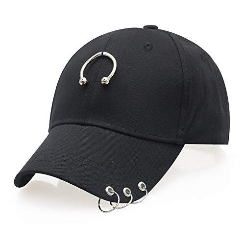 zlhcich Sombrero de sombrilla Gorra de béisbol Gorra doblada Femenina aro de Moda Sombrero de Verano Marea Masculina semicírculo Tres Anillos + Sombrero Negro JX596 Ajustable