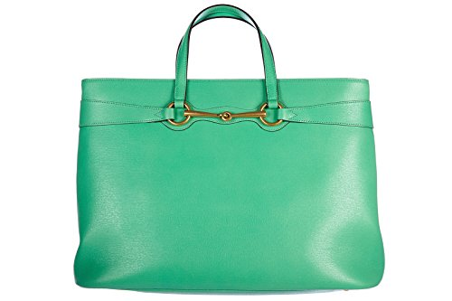 Gucci borsa donna a mano shopping in pelle nuova bright bit shangai verde