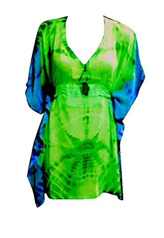 SUNROSE Sexy Tie Dyed Prints Plus Size Short Kaftan Belt Beach Cover Up Caftan Tunic