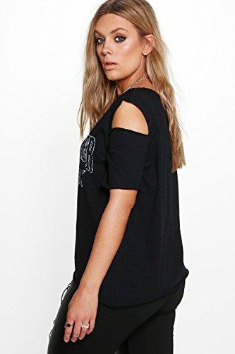 Noir Femmes plus fiona t-shirt imprimé groupe à épaules dénudées Noir