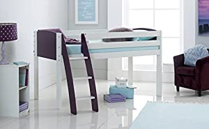 Scallywag Kids Cabin Bed 3FT Wide - White/Plum - Curved Ladder - Made In The UK.