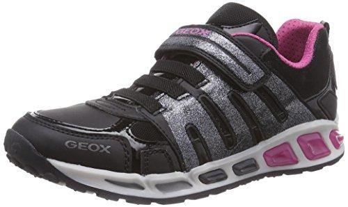 Geox J SHUTTLE GIRL C, Low-Top Sneaker Ragazza, Nero (Schwarz (C0922BLACK/FUCHSIA)), 24
