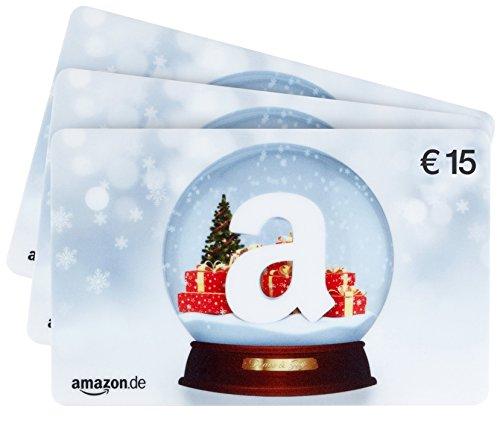 Amazon.de Geschenkgutschein - 3 Karten zu je 15 EUR (Schneekugel)