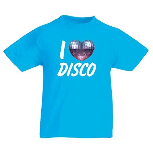 lepni.me Kinder T-Shirt Ich liebe Disco - Retro Musik Kleidung (9-11 years Blau Mehrfarben) (T-shirt Tour-baby-puppe)