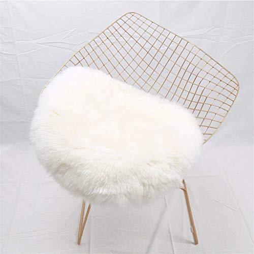 Faux Lammfell Schaffell Teppich, HEQUN Lammfellimitat Teppich Longhair Fell Optik Nachahmung Wolle Bettvorleger Sofa Matte (Weiße, 45 X 45 cm) -