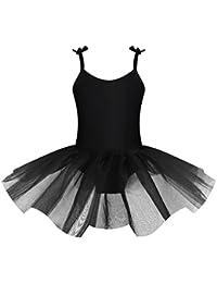 Tiaobug Enfant Fille Justaucorps de Danse Tutu Robe de Ballet Gym Costume de  Danse Ajustable Bretelle Robe sans Manche Tulle… 365d183b813