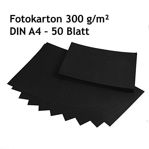 fotokarton schwarz Fotokarton, Bastelkarton schwarz, 50 Blatt, DIN A4, hochwertige Qualität, 300 g/m²