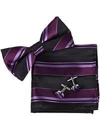 EBC1A01 Multicolored Fashion Silk Pre-tied Bowtie Cufflink Hanky Set By Epoint