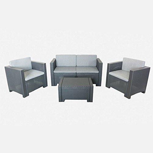 Divano con poltrone e tavolino/salotto/salottino in polyrattan per esterno/arredo giardino - mod. antracite (cod.:4040)