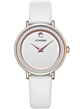 Longbo einfach weiß Uhr für Damen mit Dot Zifferblatt echtem Kalbsleder Leder Japan Quarz Analog Armbanduhr