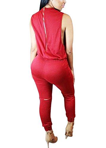 Brinny Femme sans manches Combinaison Pantalon genou trou Bodycon Clubwear Playsuit Salopettes loose Pants Drawstring Zippé Taille: S-XL Rouge