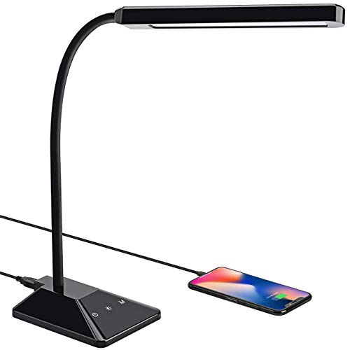 LED Desk Lamp,TOPELEK 5V/2A USB Fast Charging Port Table Lamps,5 Color Modes x 5 Levels Dimmer Desk Light,Eye-caring & Touch Control Dimmable Study Lamp,Gooseneck Reading Lamp for Bedtime,Home,Office