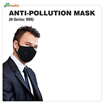 Grin Health Anti-Pollution Mask - Black (Standard, N-Series: N99)