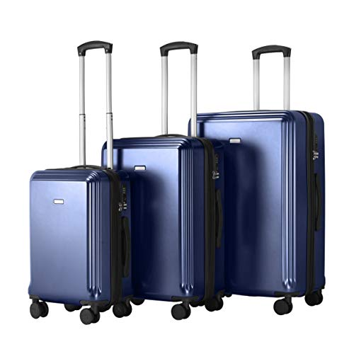 AMASAVA Koffer Handgepäck Hartschalen Trolley Reisekoffer 4 Rollen Koffer Set Rollkoffer mit TSA Zahlenschloss ABS + PC Erweiterbare Volume 3-teiliges Set...