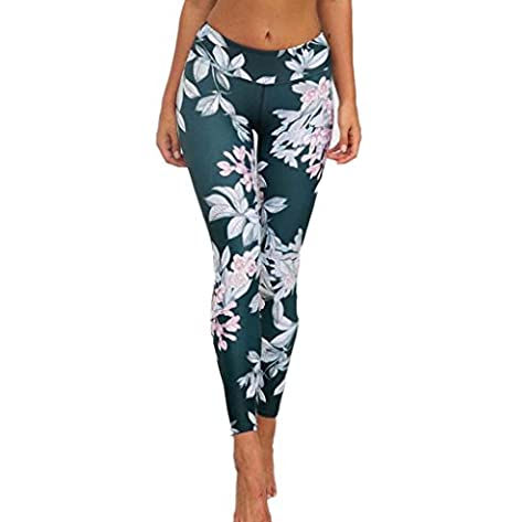 Tefamore Women Print Gym Yoga Fitness Lounge Athletic Pants (S, Green)