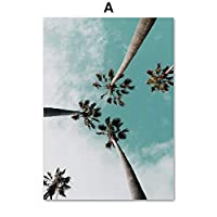 UANOU Coconut Palm Tree Pink Beach Sea Umbrella Wall Art Canvas Painting Posters And Prints Wall Pictures For Living Room Decor