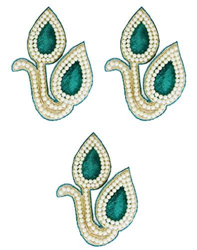 PEEGLI Blatt Design Ethnische Hochzeit Neue Applikation Patch Grüne Flecken Braut Tuch Dekor 3 Stück Perlen Applikationen DIY Verziert Handwerk Nähen Kostüm