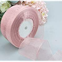 brandy jackson q Solid Color Gift Wrapping Ribbon Transparent Baking Gift Box Decorative Ribbon(Dusty Pink)