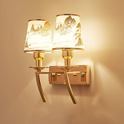 SKC Lighting-Applique murale Américain simple en fer lampe murale en verre lampe de jardin escalier évier escalier lampe de jardin (taille : Double head)