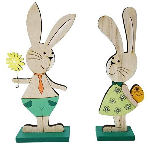 khevga Decorazione pasquale in legno - Coniglio decorativo in confezione da 2