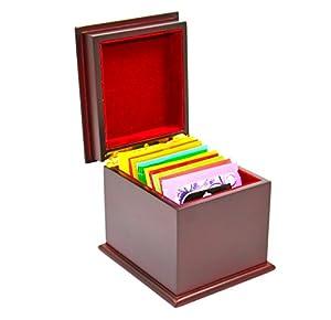indianteacompany Boîte de Nouvelle de luxe en bois finition acajou Thé poitrine boîte 1compartiment avec 10sachets de thé Twinings, Caddy, cadeau idéal