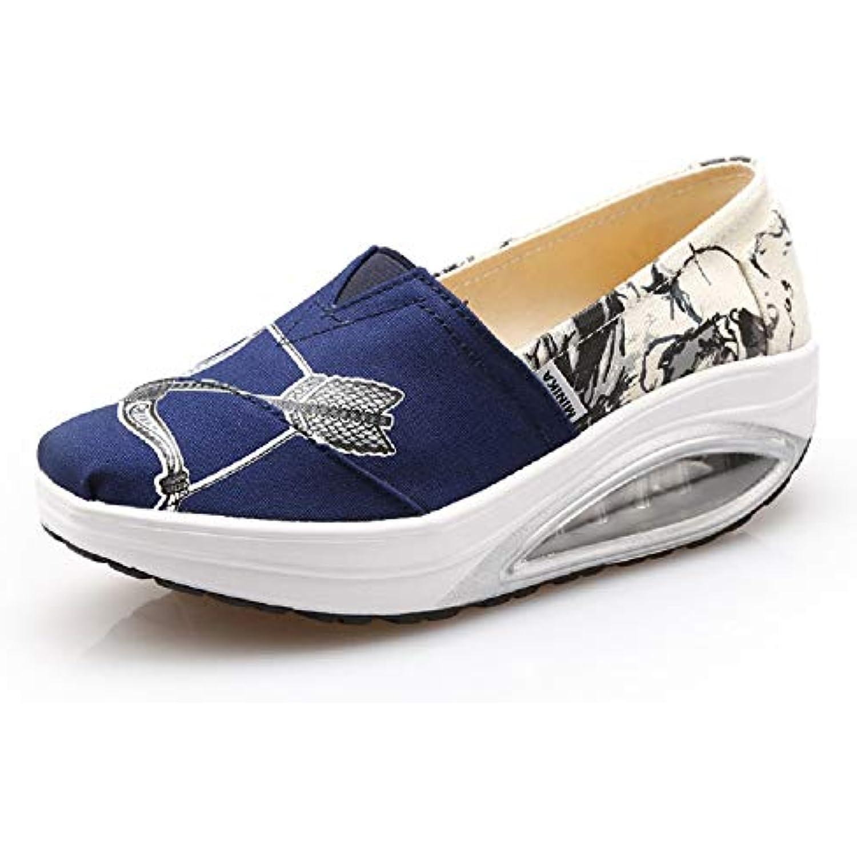 ZHRUI Imprimer Chaussures Trainers Femmes Canvas Rocker Sole Platform Trainers Chaussures color eacute; : Bleu, Taille : EU 40 - B07HHR8H9G - d6f2e0