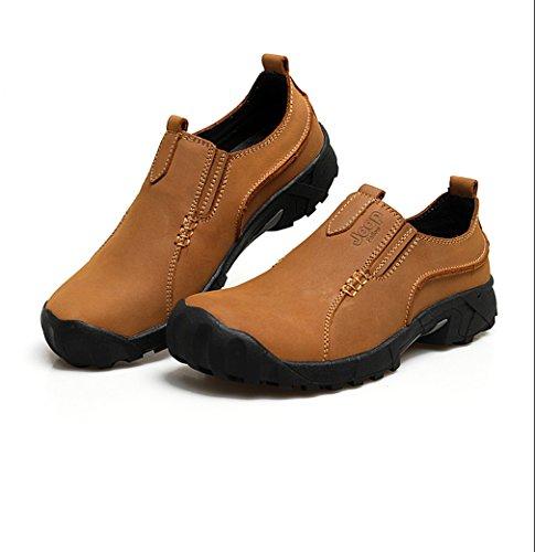 ADS hommes de tissage Fashion Casual Chaussures bateau en cuir Mocassins. Marron - Khaki