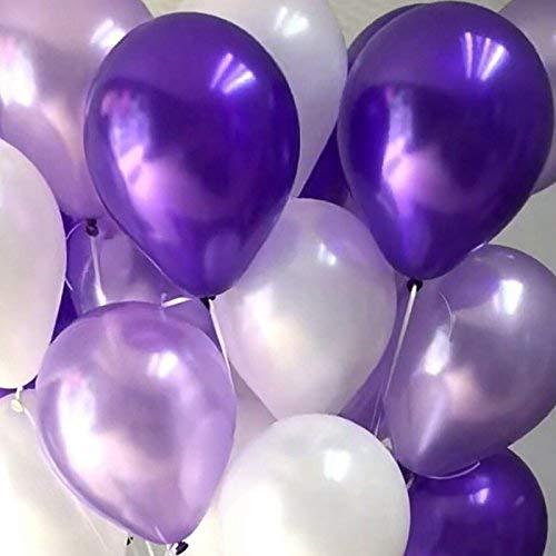 Erosion 100 Stück Latex Ballons 12 Zoll 2.8g Geburtstag Hochzeit Versorgung Kinder Spielzeug (tief lila & hell lila & weiß)