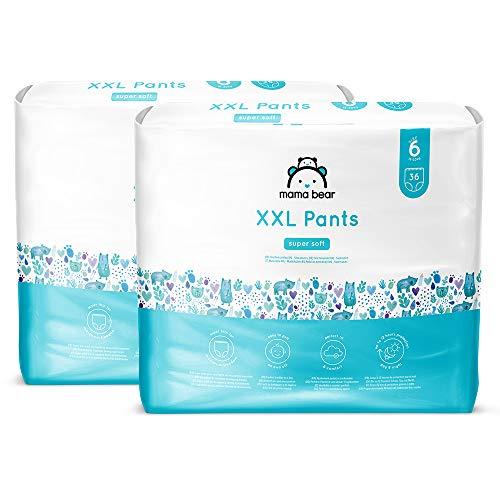 Amazon Brand - Mama Bear XXL Nappy Pants - Size 6 (18-30kg) , 2 packs of 36