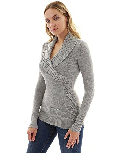 PattyBoutik Damen Schalkragen Faux Wrap schnüren Pullover (hellgrau 36/S) (Wrap Pullover)