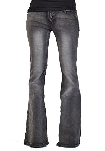 Glamour Outfitters Damen Jeans-Schlaghosen - 60er/70er Stil mit Retro-Waschung - Grau (36)