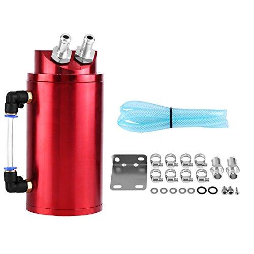 Serbatoio di sfiato universale in alluminio per auto da corsa e sportive, con raccordi da 10 a 15 mm