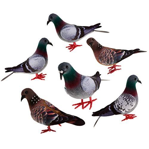 LOVIVER 6er Klein Dekofigur Taube Kunstvogel Garten Vogel Dekor Dekovogel mit Federn -