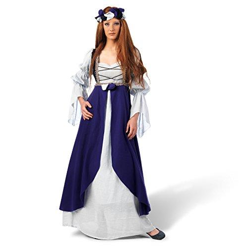 Mittelalter Kostüm Kleid Damen Miss Clarisa lila bodenlang mit Überkleid und Stirnband - (Empire Larp Kostüm)
