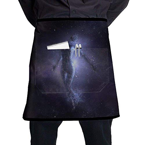 Waterproof Apron Half Short Aprons Space Stars Women Waist Apron with Pockets Kitchen Restaurant for Women Men Server -