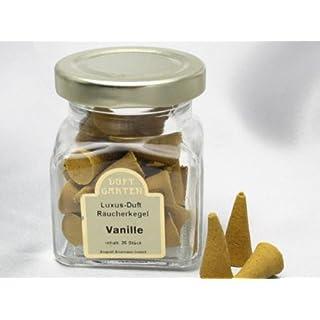 Räucherkegel Luxusdüfte Vanille, 35 Stück im Glas