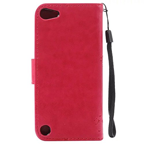 JIALUN-Telefon Fall Geprägte Blumen Katze und Baum Fall, Normallack PU-lederner Fall-Silikon-Abdeckungs-Mappen-Standplatz mit Handbügel für IPod Note 5 ( Color : Black , Size : IPod Touch 5 ) Rose