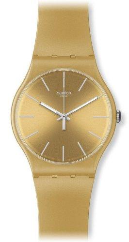 Swatch Herren-Armbanduhr XL New Gent Analog Plastik Golden Rebel SUOZ119 (Rebel Herrenuhr Swatch)