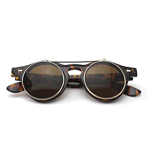 Retro-Stil Unisex Hochklappen Rund Sonnenbrille Steampunk Gotik Schutzbrille Brille Leopard