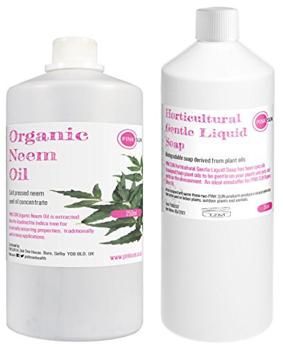 Pure Organic Neem Oil and Horticultural Gentle Liquid Soap Combo Pack 250ml (or 1 litre sizes) for Neem Oil Spray Plants Insect Repellent Pets Animals Dogs Horses PINK SUN