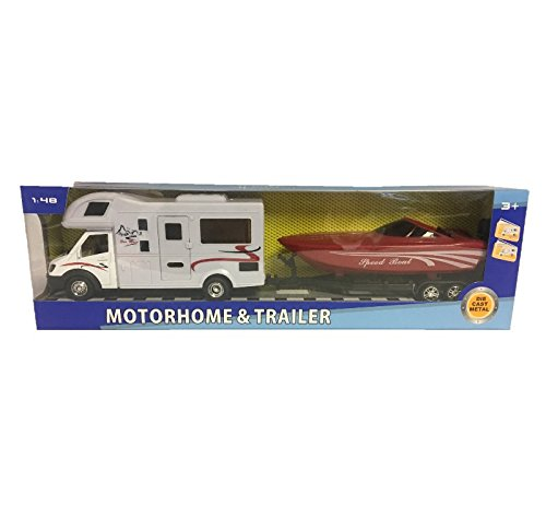 Fun Toys 10055 - Motorhome & Trailer With Speed Boat (Toy Travel Trailer)