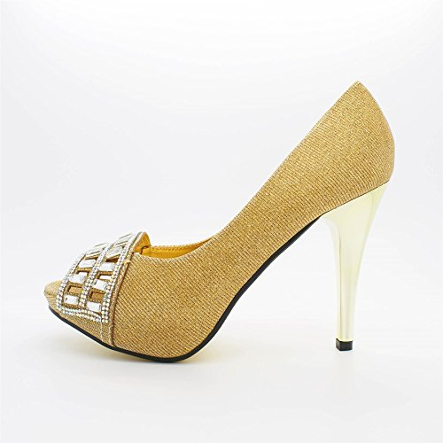 London Footwear ,  Damen Peep Toes Gold