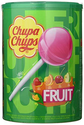 Chupa Chups Tubo 100 Sucettes Fruit Parfums Pomme, Fraise, Orange, Cerise 1, 2 Kg