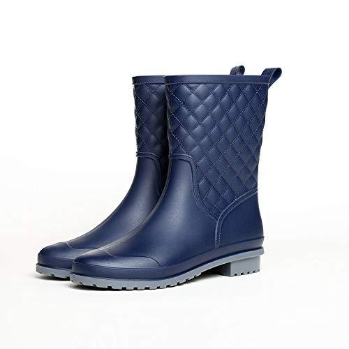 Damen Kurze Gummistiefel,Plaid Lässige Mode Regen Stiefel In Der Tube Nach Blau Wasserdicht Regen- Damenschuhe Weiches Innenfutter Gepolsterte Fußbett Wellington Für Das Eva-Fußbett Regen Basic -