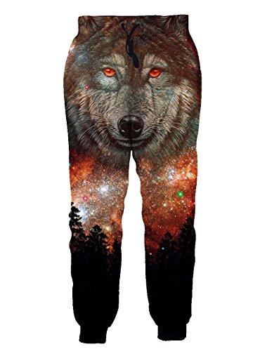 Leapparel Jogginghose Unisex 3D Wolf Grafik Druck Boyfriend Lang Jogging Hose Traninghose fur Jungen mit Tasche (Lange Grafik)