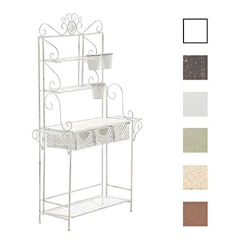 Shine I Blumenregal mit 4 Ablageflächen und extra Halterungen für Blumentöpfe I erhältlich Antik Weiß ()