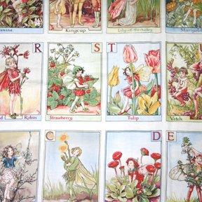 Michael Miller Quilting-Stoff, Motiv: Blumenfee mit Alphabet-Buchstaben, Baumwolle